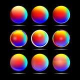 Uppsättning av färgrika rundaknappar för website Fotografering för Bildbyråer