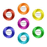 Uppsättning av färgrika rundor Skärande band som vrids i cirklar Mallar för etiketter, flygblad, baner, emblem, affischer, kliste royaltyfri illustrationer