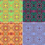 Uppsättning av färgrika sömlösa geometriska modeller ethnic stock illustrationer