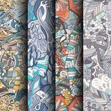 Uppsättning av färgrika sömlösa modeller för tracery Krökta klottra bakgrunder för textil eller utskrift med mehndi- och person s Arkivfoton