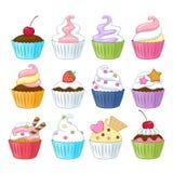 Uppsättning av färgrika söta muffin Fotografering för Bildbyråer