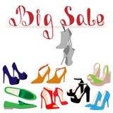 Uppsättning av färgrika skor för modekvinna` s Skor försäljningen, rabatt ope vektor illustrationer