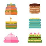 Uppsättning av färgrika smakliga styckkakor, pajer och andra bageriefterrättsymboler stock illustrationer