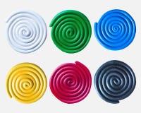 Uppsättning av färgrika spiral för plasticine Royaltyfri Bild