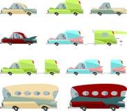 Uppsättning av färgrika tappningbilar Arkivfoton