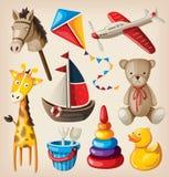 Uppsättning av färgrika tappningtoys stock illustrationer