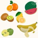 Uppsättning av färgrika tecknad filmfruktsymboler Arkivfoto