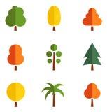Uppsättning av färgrika träd Royaltyfria Bilder