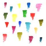 Uppsättning av färgrika vattenfärgborsteslaglängder Royaltyfri Illustrationer