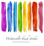 Uppsättning av färgrika vattenfärgborsteslaglängder isolerat Royaltyfri Foto