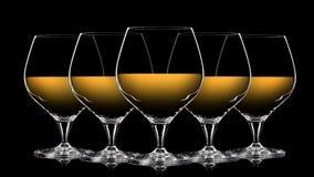 Uppsättning av färgrika whiskyexponeringsglas på svart Royaltyfri Bild