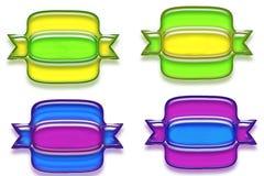 Uppsättning av färgrikt tecken, etiketter eller symboler Arkivfoto