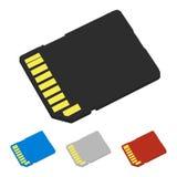 Uppsättning av färgSD-kort också vektor för coreldrawillustration Royaltyfri Fotografi