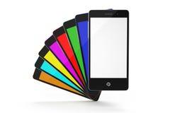 Uppsättning av färgsmartphones med en vit skärm Fotografering för Bildbyråer