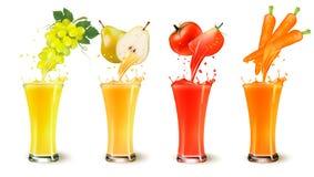 Uppsättning av färgstänk för fruktfruktsaft i ett exponeringsglas stock illustrationer
