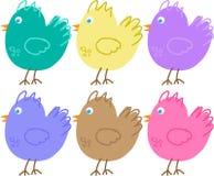 Uppsättning av färgsymboler av fåglar Arkivbilder