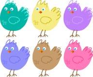 Uppsättning av färgsymboler av fåglar Arkivfoto