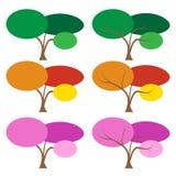 Uppsättning av färgträdet i många säsong Arkivfoto