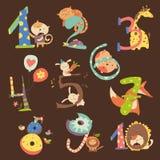 Uppsättning av födelsedagårsdagnummer med roliga djur Arkivfoton