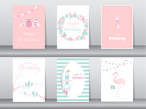 Uppsättning av födelsedaginbjudankort, affisch, hälsning, mall, fågel, uggla, flamingo, vektorillustrationer Royaltyfri Bild