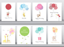 Uppsättning av födelsedagkort, affisch, mall, hälsningkort som är söta, ballonger, djur, vektorillustrationer royaltyfri foto