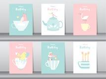 Uppsättning av födelsedagkort, affisch, mall, hälsningkort som är söta, djur, vektorillustrationer Royaltyfri Fotografi