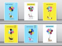 Uppsättning av födelsedagkort, tappningfärg, affisch, mall, hälsningkort, ballonger, djur, hundkapplöpning, vektorillustrationer royaltyfri fotografi