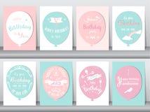 Uppsättning av födelsedagkort, tappningfärg, affisch, mall, hälsningkort, ballonger, djur, hundkapplöpning, vektorillustrationer Arkivfoto
