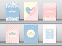 Uppsättning av födelsedagkortet på den retro modelldesignen, tappning, affisch, mall, hälsning, vektorillustrationer Arkivfoton
