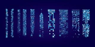 Uppsättning av fönstersymboler med signalljuset Byggnader och hus stadslampor Royaltyfri Bild