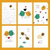 Uppsättning av förälskelsekort med bin och fåglar Arkivbild
