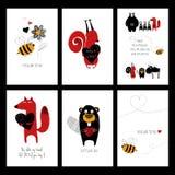 Uppsättning av förälskelsekort med djur Fotografering för Bildbyråer