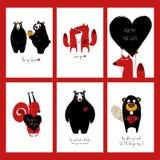 Uppsättning av förälskelsekort med djur Royaltyfri Fotografi