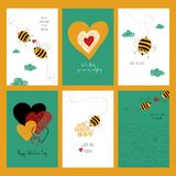 Uppsättning av förälskelsekort med gulliga bin Arkivfoton