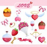 Uppsättning av förälskelsesymbolen Arkivbilder