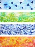 Uppsättning av för bakgrundsvattenfärg för 4 säsonger illustrationen för design för målning Royaltyfri Bild