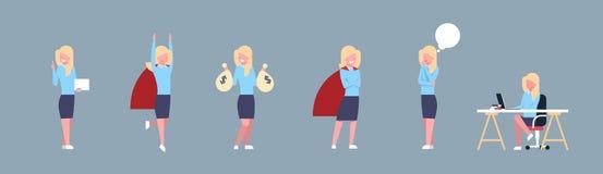 Uppsättning av för Corporate Different Situations för affärskvinna för arbetare för kontor för symbol för affärskvinna horisontal vektor illustrationer