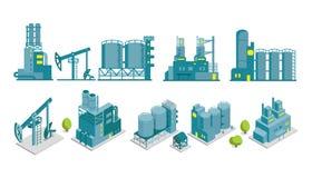Uppsättning av för fabriksillustration för isometriskt slut 2D oljeproduktion Arkivfoton
