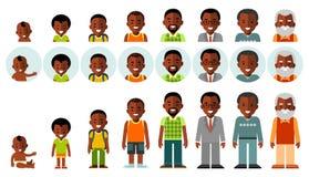 Uppsättning av för folkutvecklingar för afrikansk amerikan etniska avatars på olika åldrar royaltyfri illustrationer