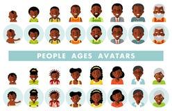 Uppsättning av för folkutvecklingar för afrikansk amerikan etniska avatars på olika åldrar vektor illustrationer