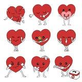 Uppsättning av för hjärtavektor för sinnesrörelse den känslig drog designen hand stock illustrationer