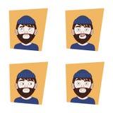 Uppsättning av för manansiktsuttryck för barn den skäggiga samlingen av hipsteren Guy Different Emotions Icons stock illustrationer