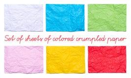Uppsättning av för rosa färger, gula och röda skrynkliga ark för vit, för blått, för gräsplan, av papper Royaltyfri Fotografi