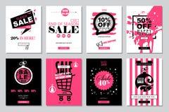 Uppsättning av 2018 för Sale för lyckligt nytt år mallar baner för on-line sh Arkivfoto