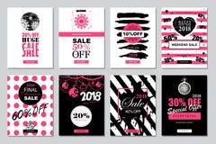 Uppsättning av 2018 för Sale för lyckligt nytt år mallar baner för on-line sh Arkivfoton