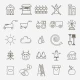 Uppsättning av för symbolsby för svart översikt det enkla temat royaltyfri illustrationer