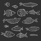 Uppsättning av för tecknad filmöversikt för ungar vita fiskar royaltyfri illustrationer