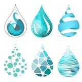Uppsättning av för vattendroppe för bue ljusa olika symboler Arkivfoton