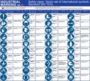 Uppsättning av för vektorsäkerhet för ISO 7010 symboler för symboler för tecken som betyder ombudhandlingar Runt grafiskt symbole vektor illustrationer