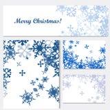 Uppsättning av företags julidentitetsmallar med blå snowflak stock illustrationer